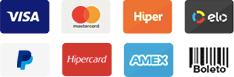 Meios de pagamento aceitos na Do Brasil Para o Mundo: Visa, MasterCard, Hiper, Elo, PayPal, Hipercard, AmericanExpress e Transferência bancária