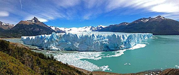 Vista do Glaciar Perito Moreno, no Parque Los Glaciares